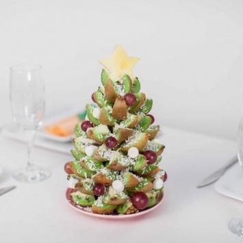 Ёлка из свежих фруктов на Новый Год