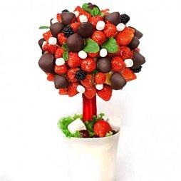 Фруктовое дерево с шоколадом и клубникой