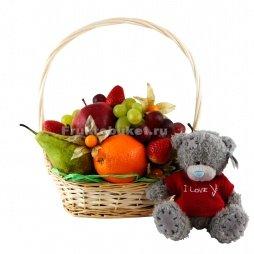 фруктовая корзина с плюшевым медведем